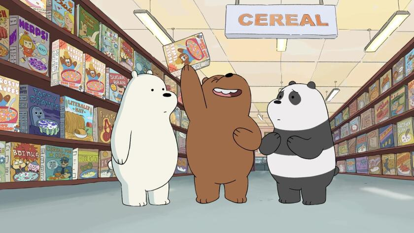 "Ice Bear, left, Grizzly and Panda from Cartoon Network's ""We Bare Bears."""