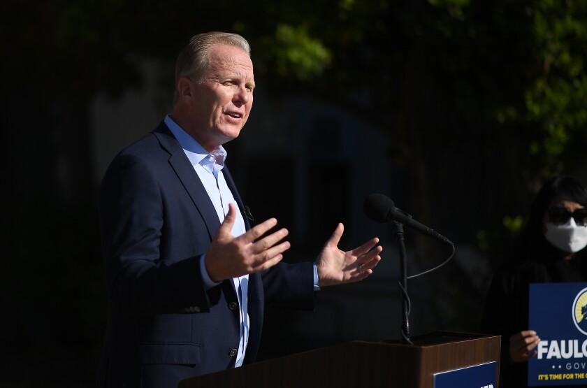Kevin Faulconer announces his run for governor of California in San Pedro.