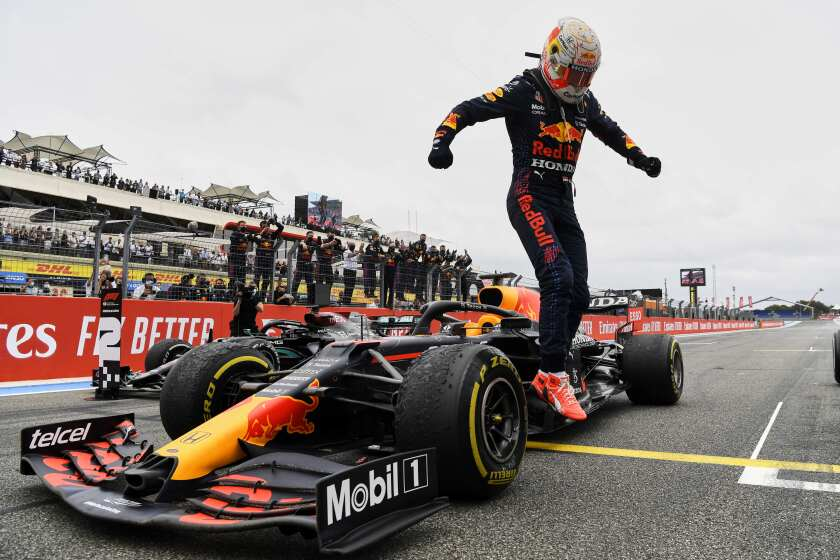 Red Bull driver Max Verstappen of the Netherlands reacts after winning the French Formula One Grand Prix at the Paul Ricard racetrack in Le Castellet, southern France, Sunday, June 20, 2021. (Nicolas Tucat/Pool via AP)