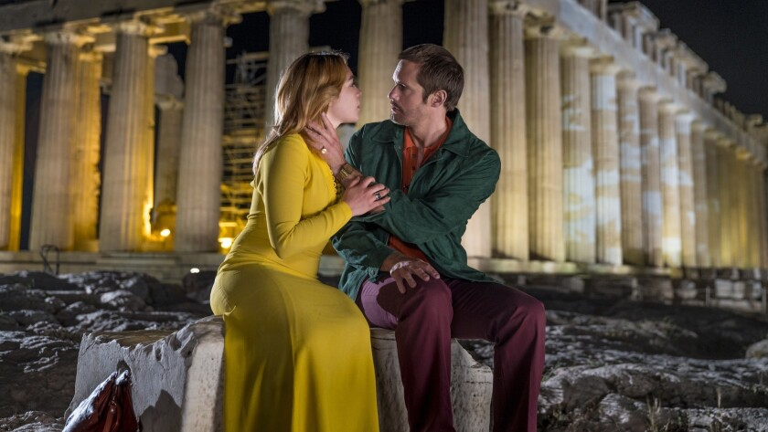 "Florence Pugh and Alexander Skarsgard in the ""The Little Drummer Girl"""