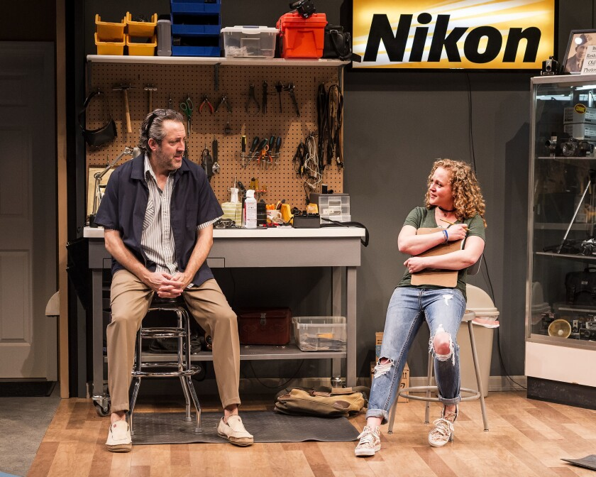 "Ian Barford and Caroline Neff in the Steppenwolf Theatre Company production of Tracy Letts' ""Lin"