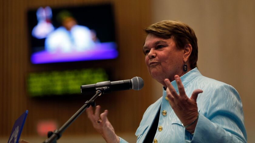 Los Angeles County Supervisor Sheila Kuehl, seen at her oath of office ceremony in 2014, has been appointed to a seat on the region's air quality board.