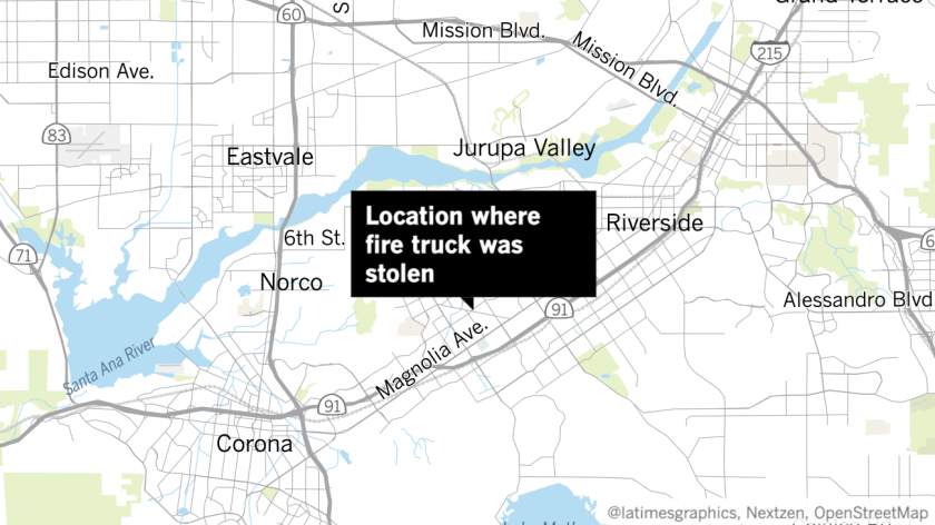 Map location where fire truck was stolen