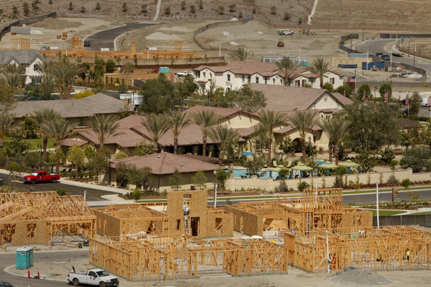 Construction at Rancho Mission Viejo in Orange County. Places with higher housing prices and slower growth tend to have more income disparity among residents.