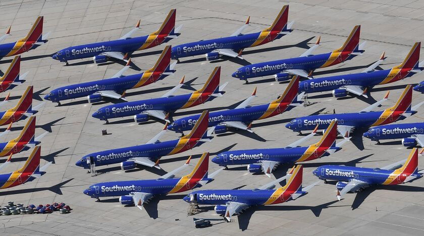 Boeing 737 Max planes from Southwest Airlines' fleet sit on the tarmac, grounded