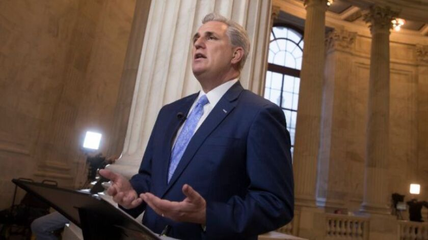 House Majority Leader Kevin McCarthy discusses the move by House Republicans to eviscerate the independent Office of Government Ethics, during a network television interview on Capitol Hill in Washington, Tuesday, Jan. 3, 2017.