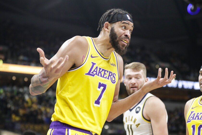 Lakers center JaVale McGee questions a call during a 105-102 loss to the Indiana Pacers on Tuesday.