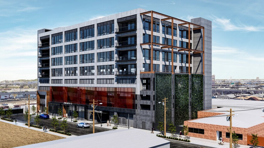 Rendering of planned office building for 2130 Violet Street in the Arts District of downtown Los Angeles