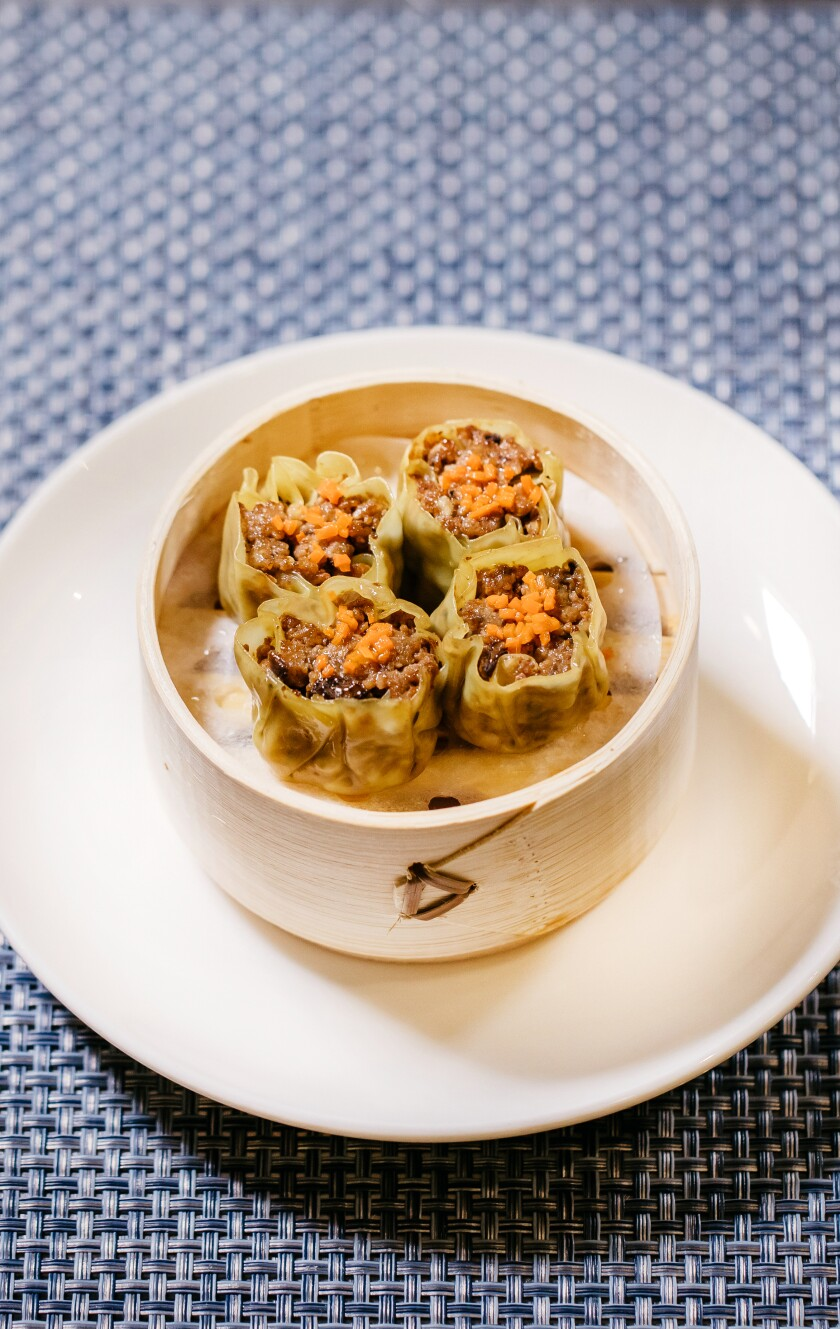 Shrimp shumai made with lab-grown shrimp from Shiok Meats.