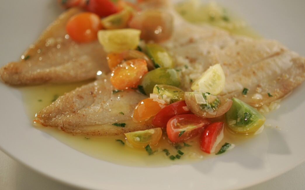 Petrale sole with tomato butter