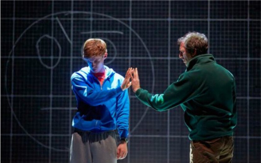 """A scene from the National Theatre's London stage production of """"The Curious Incident of the Dog in the Night-Time,"""" based on the novel by Mark Haddon."""