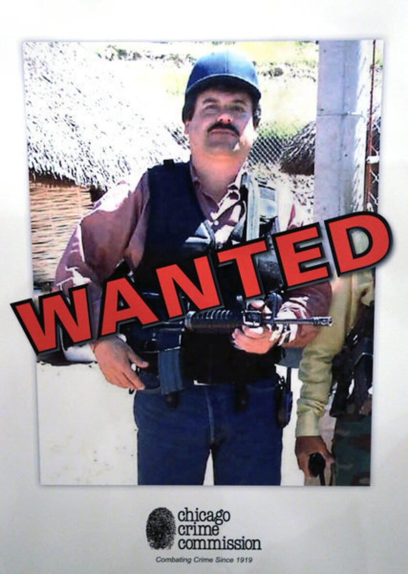 """Poster of Joaquin """"Chapo"""" Guzman was displayed at a Chicago Crime Commission news conference Feb. 14 in Chicago, where the reputed Mexican drug kingpin was deemed Chicago's Public Enemy No. 1, the first time the designation has been used since Prohibition, when the label was created for Al Capone."""