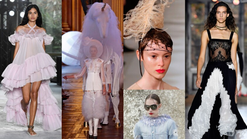 Looks from Paris Fashion Week, from left: Alexander Mcqueen; Thom Browne; Maison Margiela (top); Chanel (bottom); and Givenchy.