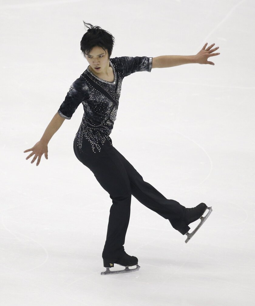 Shoma Uno of Japan performs during the Men's Short program of the Taiwan ISU Four Continents Figure Skating Championships in Taipei, Taiwan, Friday, Feb. 19, 2016. Uno finished in second place. AP Photo/Wally Santana)