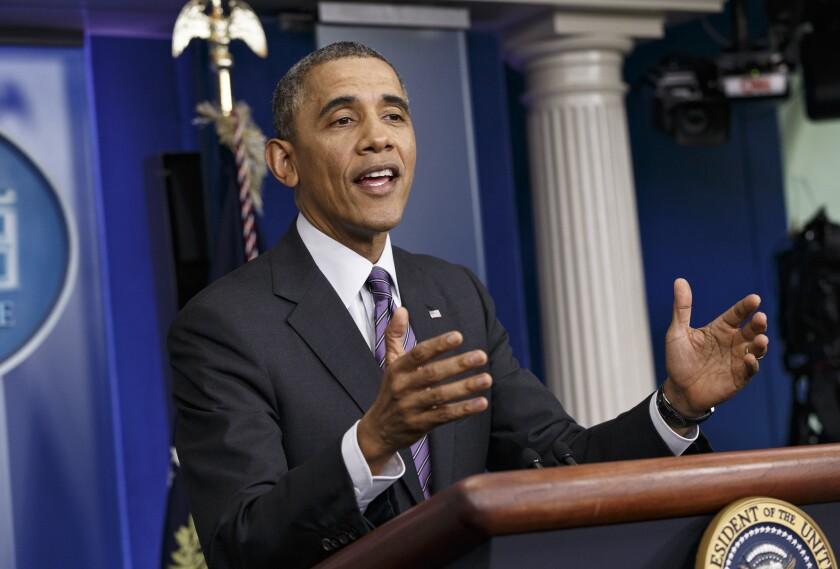 President Obama speaks at the White House in Washington.