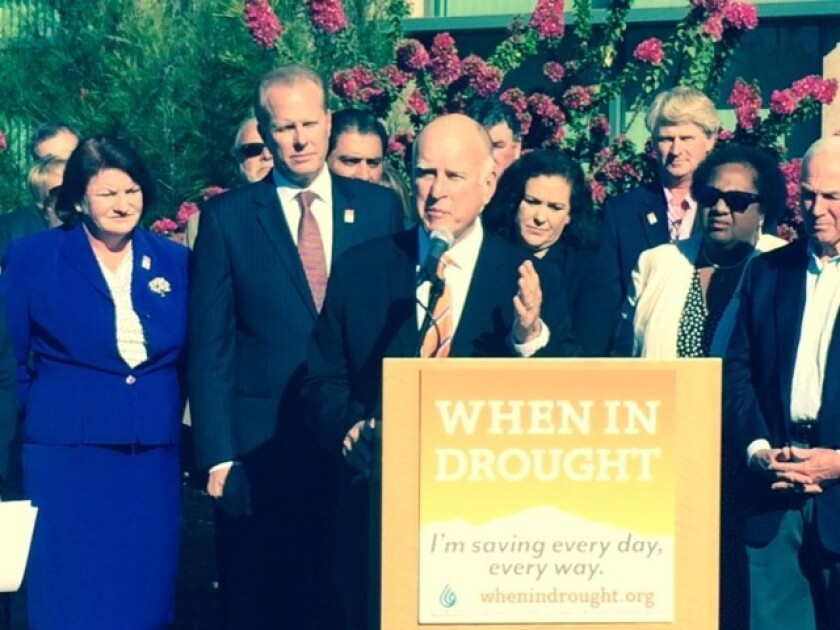 California Gov. Jerry Brown campaigns for Proposition 1 on Wednesday in San Diego; he did not mention his own reelection bid.