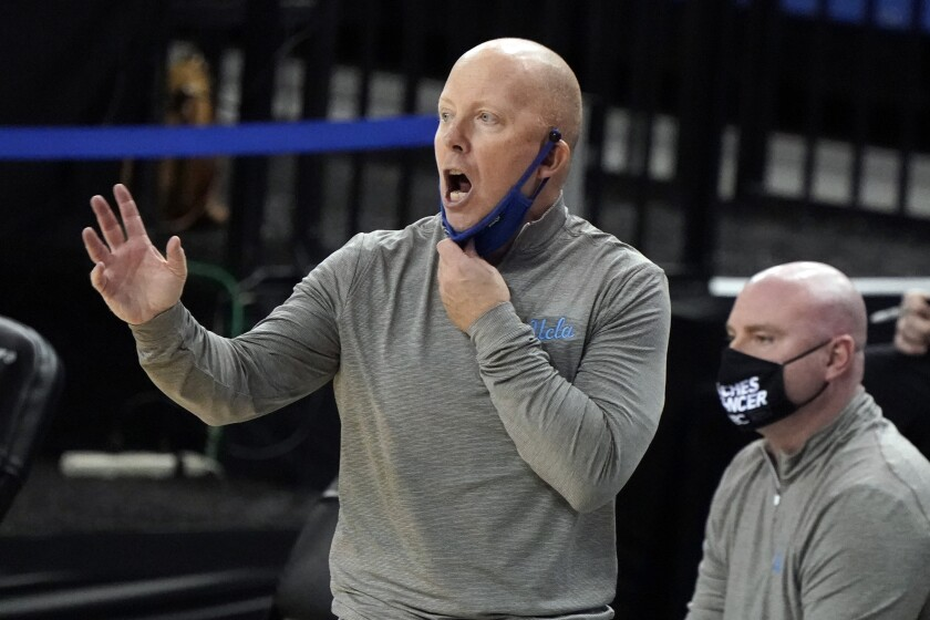 UCLA head coach Mick Cronin yells from the bench during the second half against Oregon State.