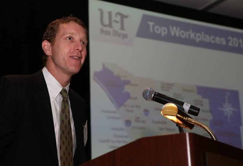 President of Workplace Dynamics Dan Kessler speaking during the U-T San Diego Top Work Places 2013 event at the Hilton La Jolla Torrey Pines hotel Thursday.