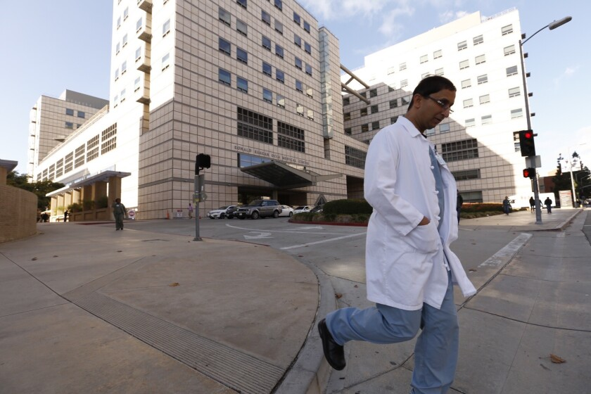 A new plan would clear the way for young doctors just out of medical school to work shifts as long as 28 hours. Above, the UCLA Ronald Reagan Medical Center in Westwood.