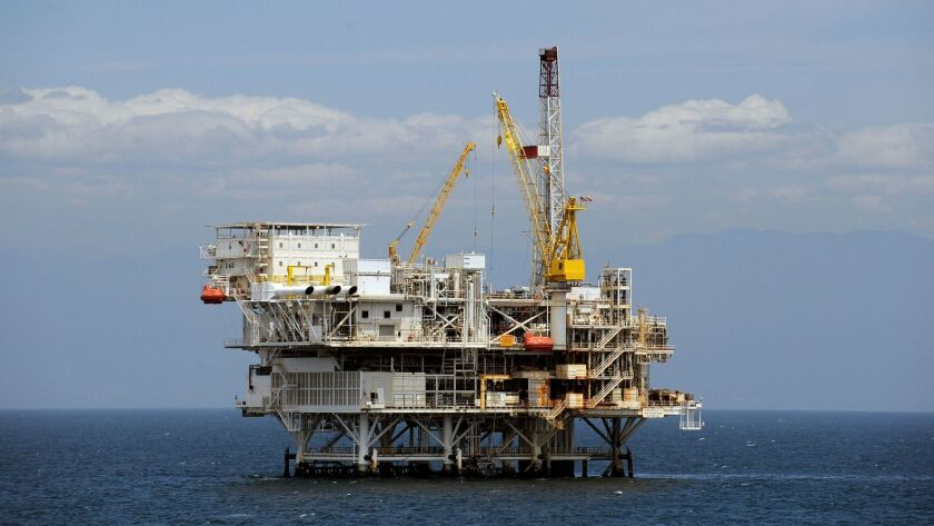 "This May 1, 2009 photo, shows the offshore oil drilling platform ""Gail"", operated by Venoco, Inc., o"