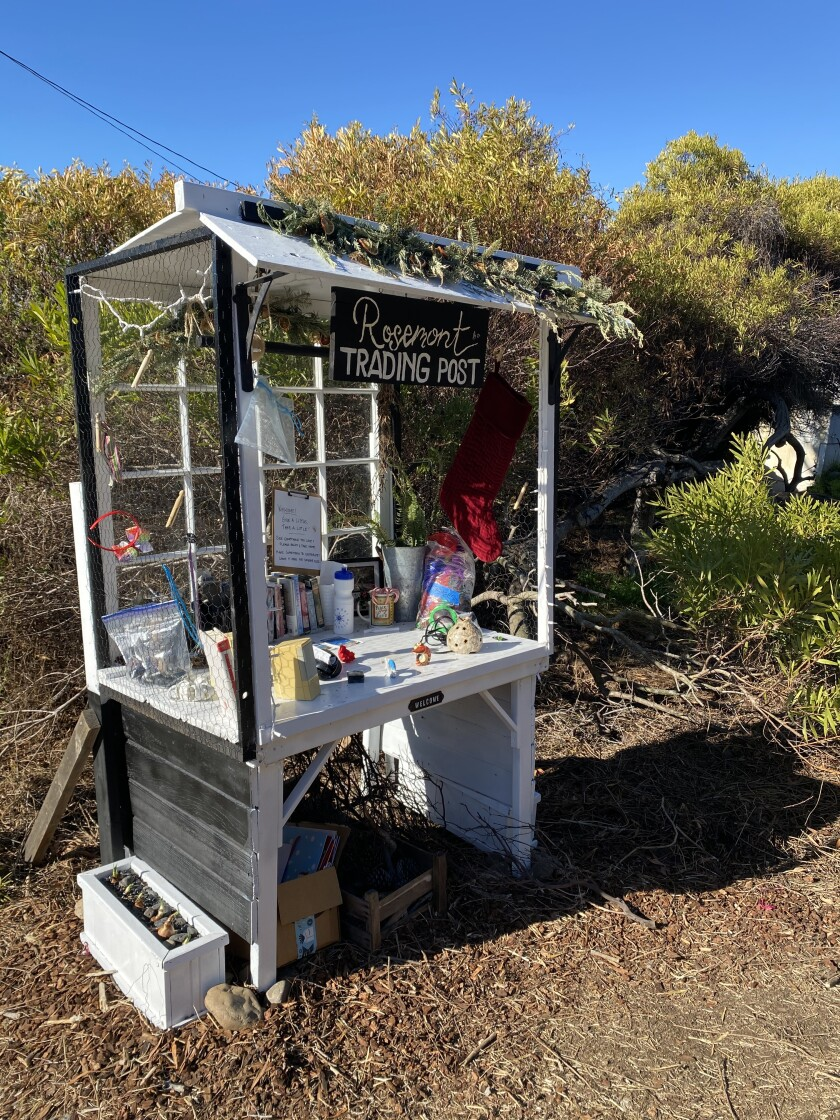 """The """"Rosemont Trading Post,"""" pictured Dec. 30, stands along the La Jolla Bike Path."""