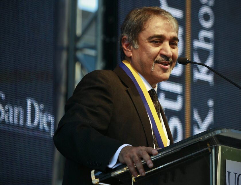 UC San Diego Chancellor Pradeep Khosla delivers his speech during his investiture ceremony during the Founder's Day celebration at the university.