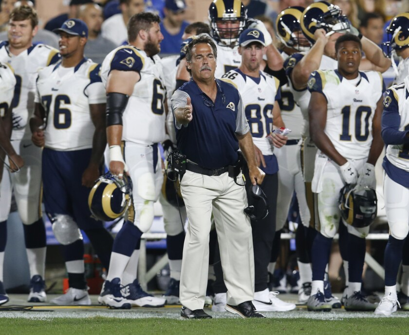 Rams Coach Jeff Fisher motions during a preseason game against the Kansas City Chiefs on Aug. 20.
