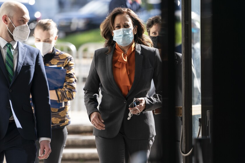 Sen. Kamala Harris arrives on Capitol Hill for confirmation hearings of Supreme Court nominee Amy Coney Barrett on Tuesday.