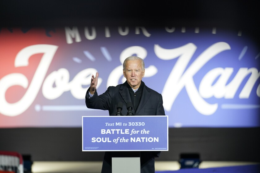 Joe Biden speaks at a rally at Belle Isle Casino in Detroit on Saturday.