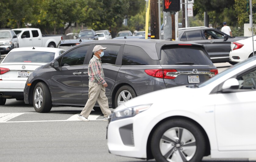Traffic gets backed up at the intersection of Anaheim Ave and W. 19th St in Costa Mesa.