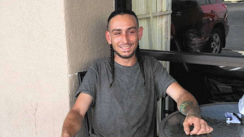 Dylan Fowler, 26, grew up in Chatsworth and wound up homeless. L.A.'s crackdown on transients is making his life hard as he tries to find a place to sleep.
