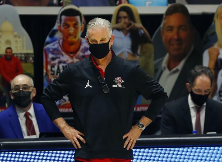 Aztecs coach Brian Dutcher on sidelines against Nevada on Jan. 7