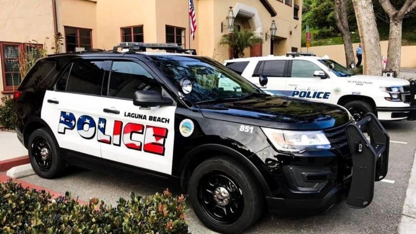 This undated photo provided by the Laguna Beach Police Department shows their newly decorated Police
