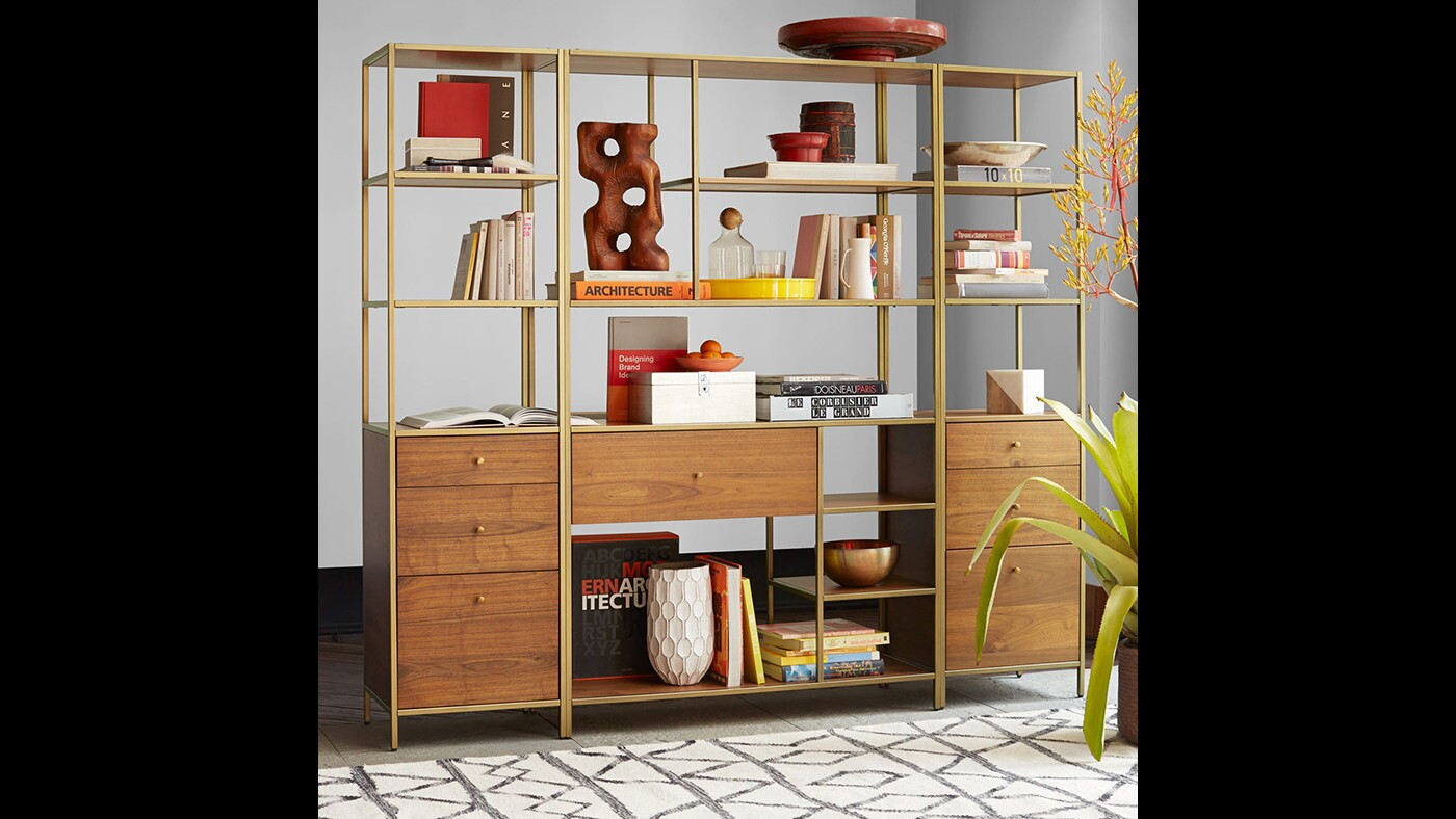 West Elm's Nook units take cues from Paul McCobb's midcentury designs for Calvin. The Nook Tower with cabinet base, $699, flanks the Nook Wide Storage unit, $999, in this configuration.