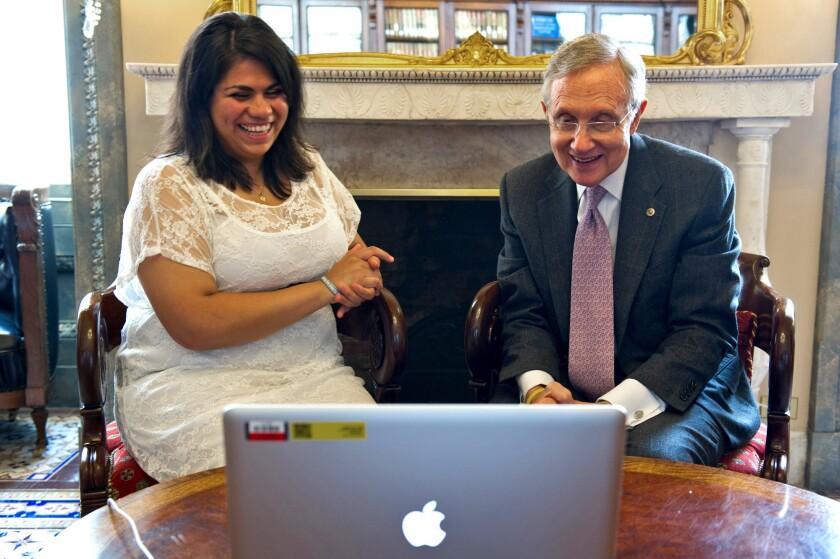Astrid Silva with Sen. Harry Reid (D-Nev.).