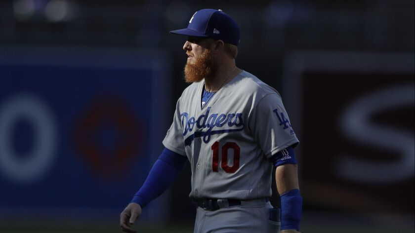 Los Angeles Dodgers third baseman Justin Turner before a baseball game against the San Diego Padres,