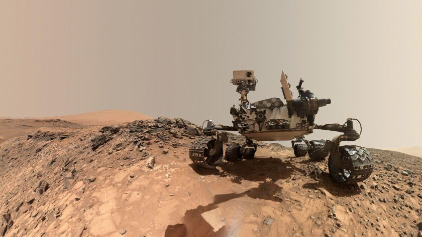 A low-angle self-portrait of NASA's Curiosity Mars rover taken on lower Mount Sharp, Mars on Aug. 5, 2015.
