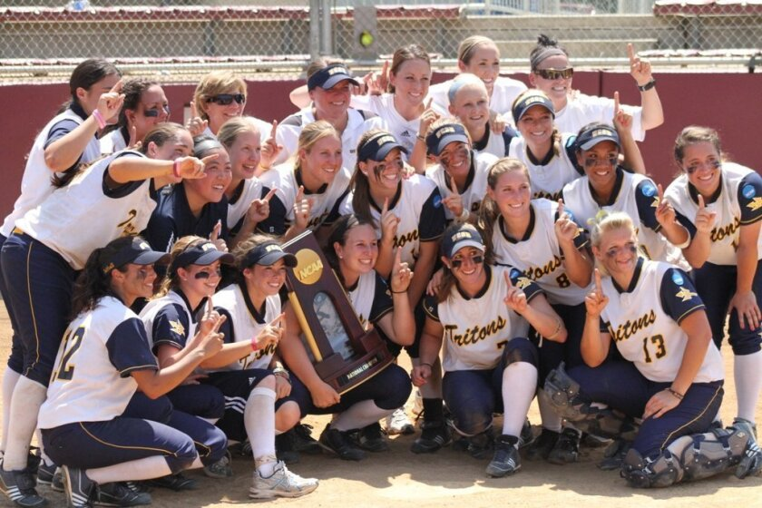 The UCSD softball team celebrates after defeating Alabama-Huntsville, 10-3, to win the NCAA Division II championship in 2011.