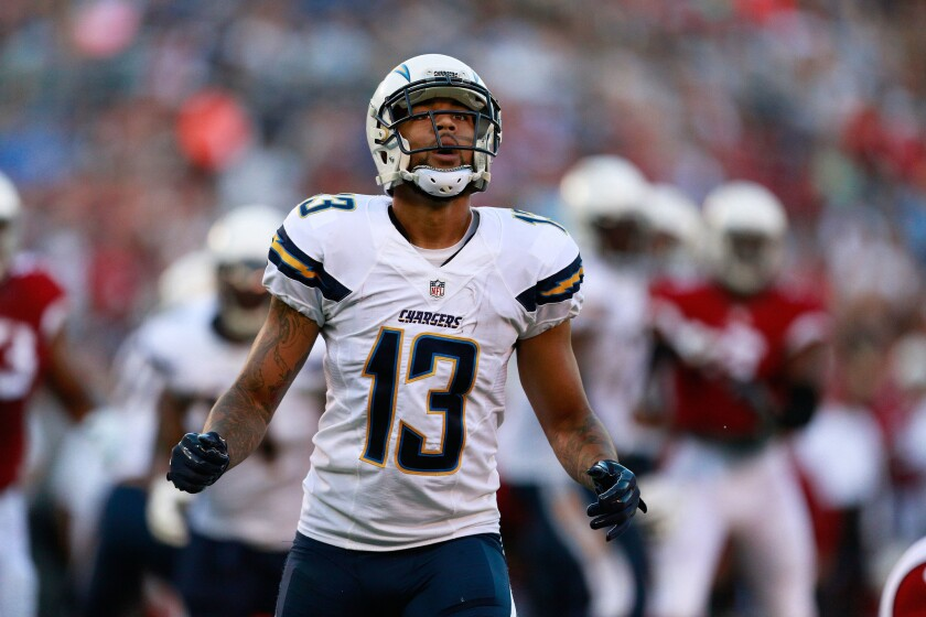 Chargers wide receiver Keenan Allen reacts to an incomplete pass.