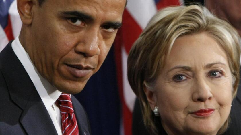 Presidente Barack Obama y precandidata a la presidencia Hillary Clinton.