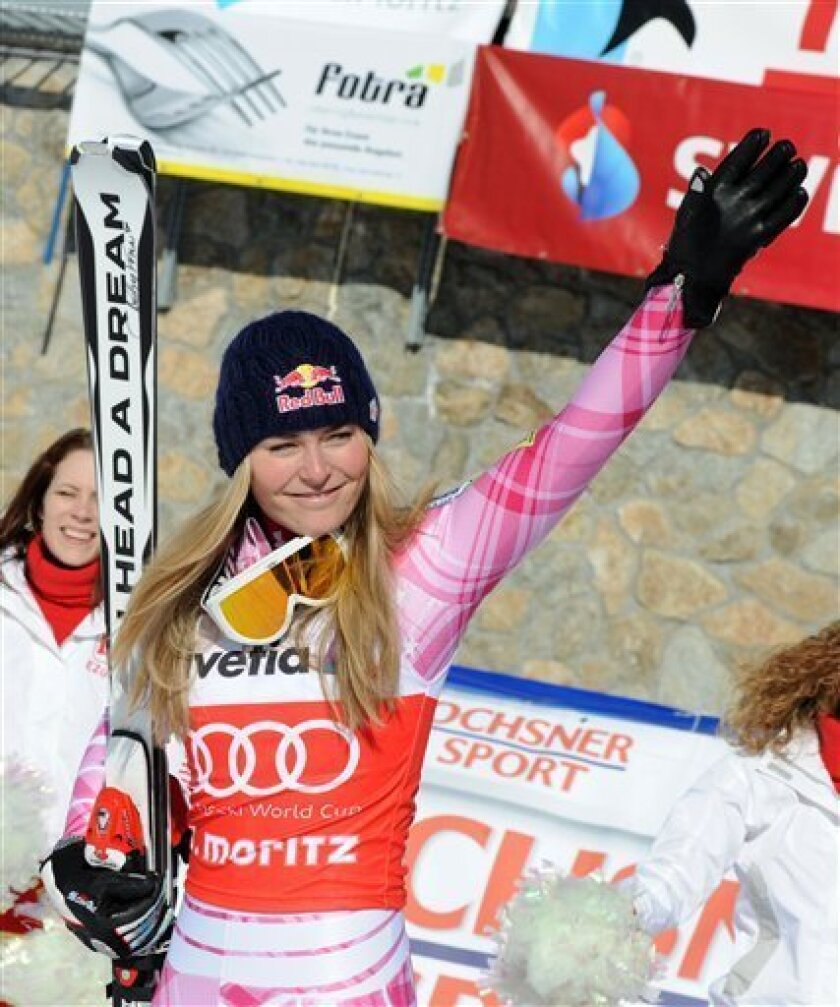 Lindsey Vonn, of the US, reacts at the finish line after winning an Alpine Ski, Women's World Cup Super G race, in St. Moritz, Switzerland, Sunday, Jan. 31, 2010. (AP Photo/Giovanni Auletta)