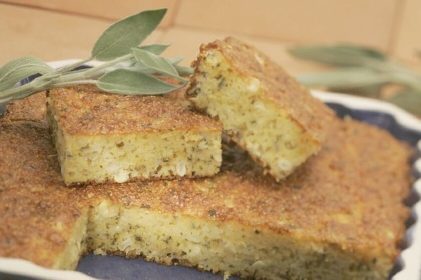 Cheddar cheese and fresh sage bring sophistication to cornbread.
