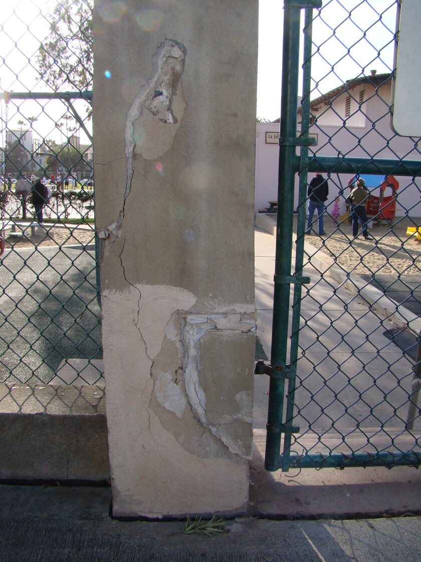 Cracking has made pillars unsafe and unsightly.