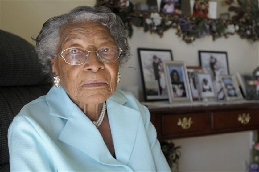 FILE - In this Oct. 7, 2010 file photo, Recy Taylor, now 91, is seen her home in Winter Haven, Fla. Black and white leaders from a rural southeast Alabama community apologized Monday, March 21, 2011 to relatives of Taylor, who was raped in 1944 by a gang of white men who escaped prosecution because of what officials described as police bungling and racism. (AP Photo/Phelan M. Ebenhack, File)