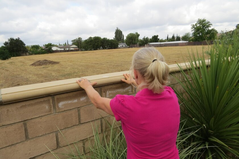 Diane Belnap peers over her backyard wall in eastern Escondido at a site where the city was planning to build a large recycled water treatment plant.