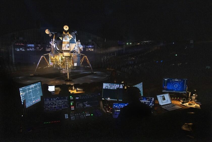 """A replica of the lunar module in """"Apollo 11 -- The Immersive Live Show"""" in Pasadena"""