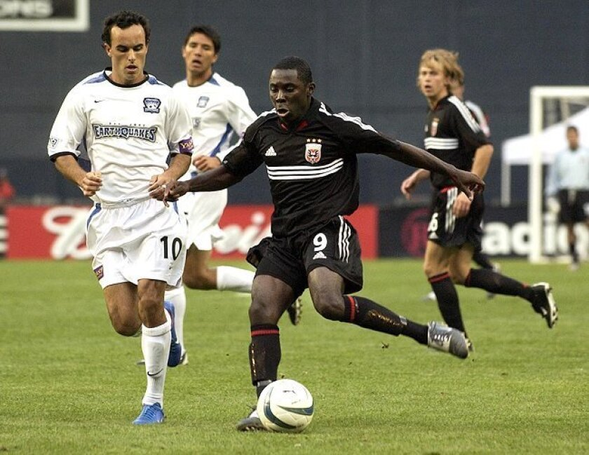 Then-phenom Freddy Adu plays for DC United in MLS action in April 2004, when he was supposedly 14.
