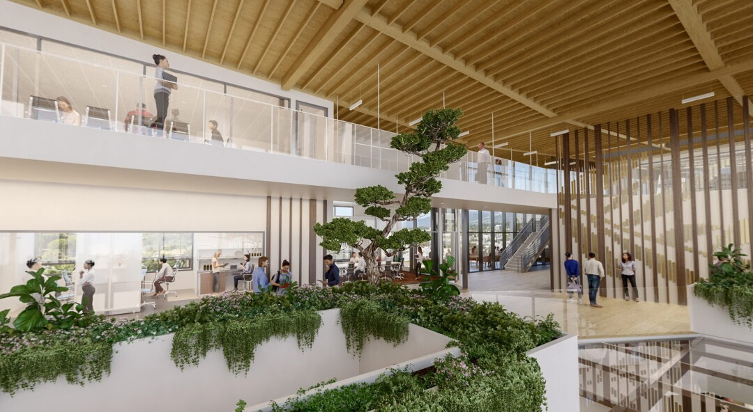 A rendering of the Ellison Institute for Transformative Medicine at USC, with interior design by RCH Studios.