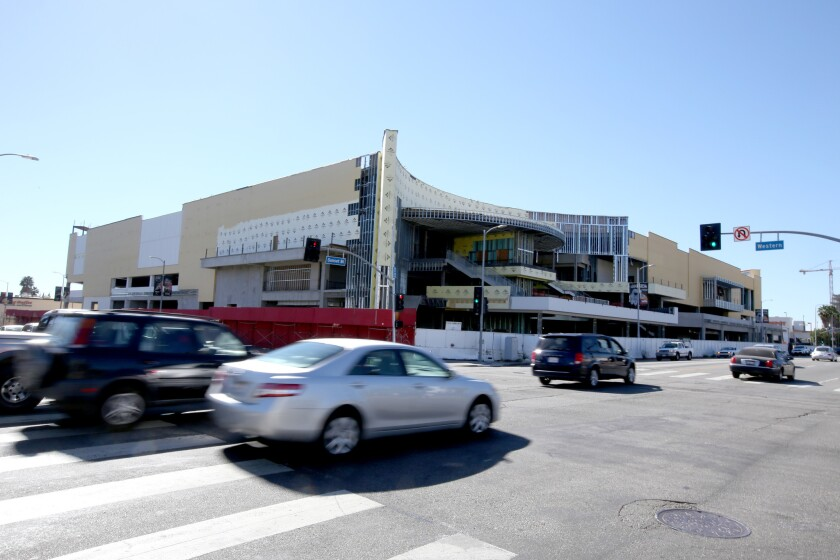 The partly built Hollywood Target shopping center, as seen in February.