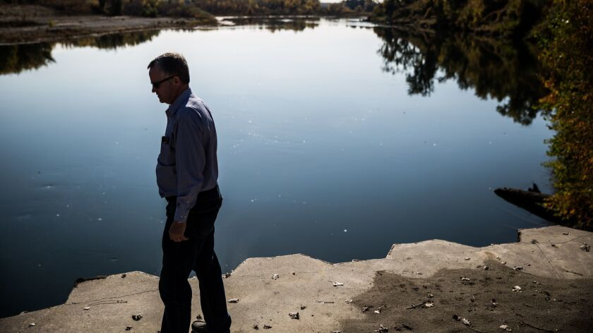 Jim Watson, general manager of the Sites Project Authority, at the point in the Sacramento River whe